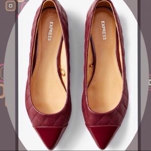 Express quilted maroon flats 9 NEW